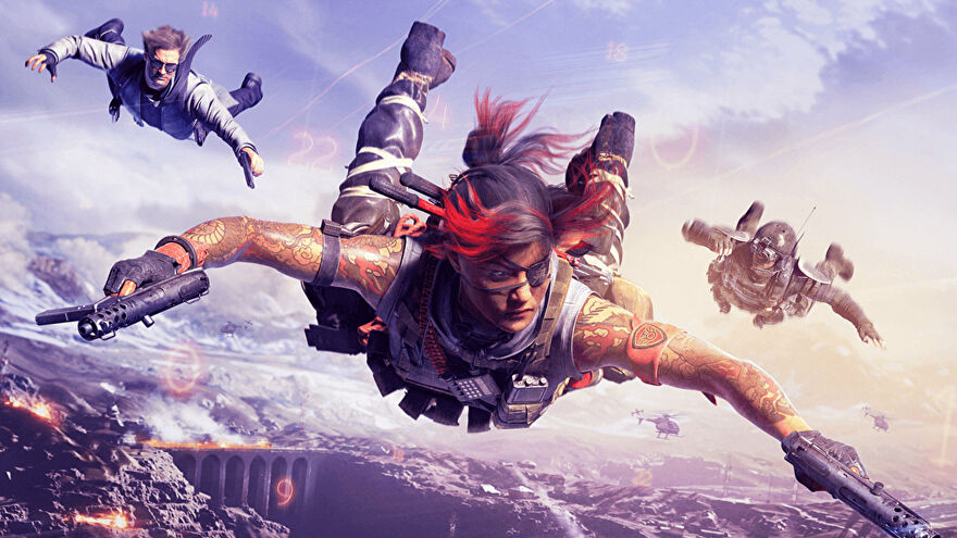 A team of Warzone players skydives down into Verdansk.
