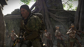 A Warzone operator flees a horde of zombies behind him.