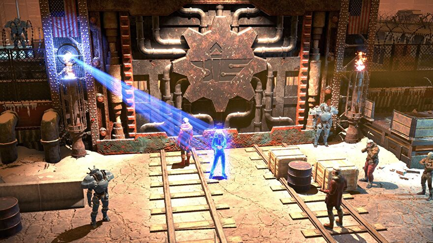 Wasteland 3 - Outside the Steeltown gate a holographic person stands surrounded by other characters.