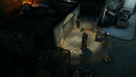 Wasteland 3 Battle Of Steeltown - Two characters stand outside a steel door with cat and chicken animal companions.