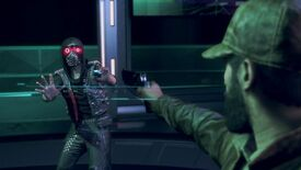 Aiden holds a gun to fire at a fleeing Wrench in Watch Dogs Legion Bloodline
