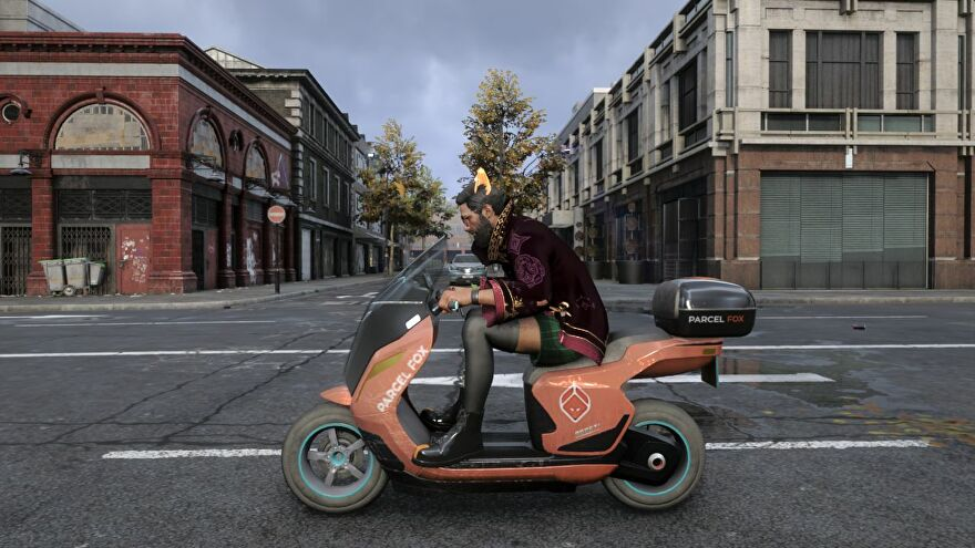 A side on view of a man in fishnet stockings and cat girl ears riding a scooter in Watch Dogs Legion Bloodline