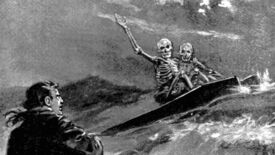 Two skeletons riding in a coffin on the sea wave at a startled man in an illustration from 'The Story Hunter or Tales of the weird and wild'.