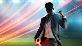The manager from the We Are Football box art pumps his fist, his face shrouded in shadow.