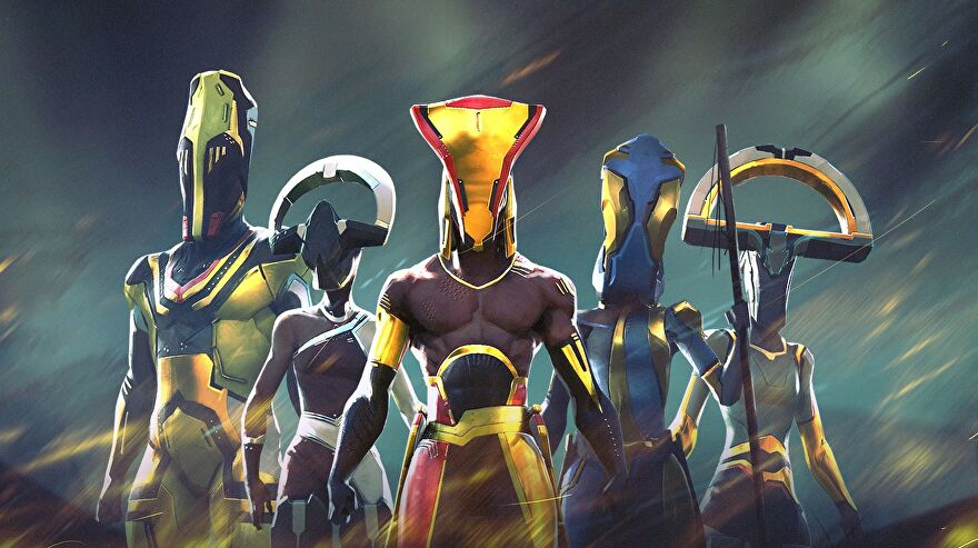 We Are The Caretakers - Five characters stand together wearing afrofuturist-style sci-fi clothes and helmets.