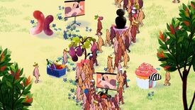 A screenshot of We Dwell In Possibility, showing a 2D garden filled with several colourful plants and several naked people facing away.
