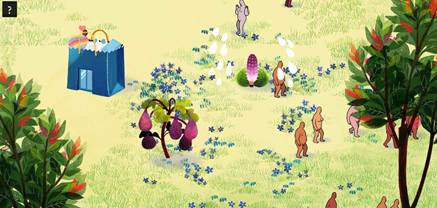 A screenshot of We Dwell In Possibility, showing a 2D garden filled with several colourful plants and several naked people.