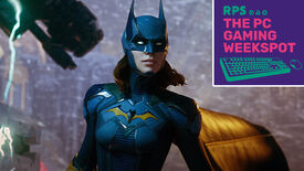 A shot of Batgirl from Gotham Knights about to face off against Mr. Freeze, with the logo for The PC Gaming Weekspot podcast in the top right