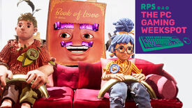 The playable characters of It Takes Two sitting on a sofa, Cody on the left and May on the right, with the Book Of Love Dr. Hakim in the middle of them. The PC Gaming Weekspot podcast logo is in the top right