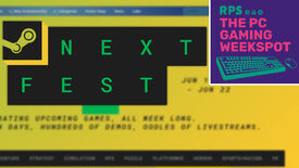 The logo for Valve's Steam Next Fest 2021, with the logo for The PC Gaming Weekspot podcast in the top right