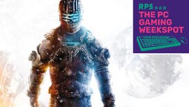 Isaac Clarke from Dead Space 3 standing in front of a white backdrop, with The PC Gaming Weekspot logo in the top right