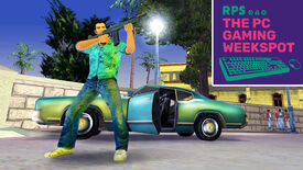 Tommy Vercetti of Grand Theft Auto: City standing in front of a blue car, aiming his gun off to the right side of the image. The PC Gaming Weekspot logo is in the top right of the image.