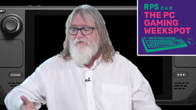 Gabe Newell sat in front of a Valve Steam Deck, with the logo for The PC Gaming Weekspot in the top right.