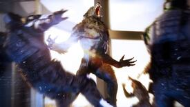 A wolfman howls in a Werewolf: The Apocalypse - Earthblood screenshot.