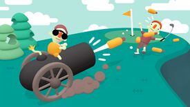 What The Golf - A person sits on top of a cannon that's firing a hotdog towards a golf hole