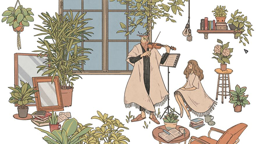 A screenshot of Owl playing the violin and Eda listening in their apartment in When The Past Was Around