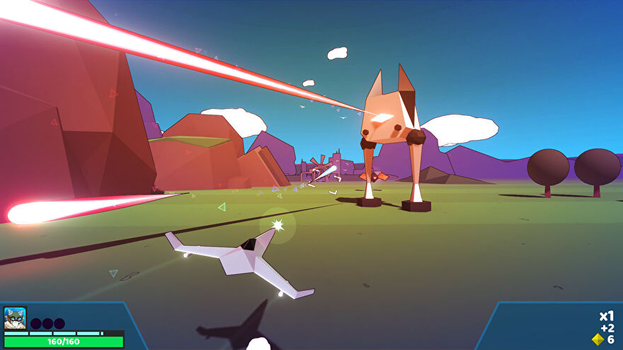 A screenshot of Whisker Squadron, showing a polygonal ship facing away from the camera in the foreground and firing lasers at a larger bipedal robot with a kitty-like head.
