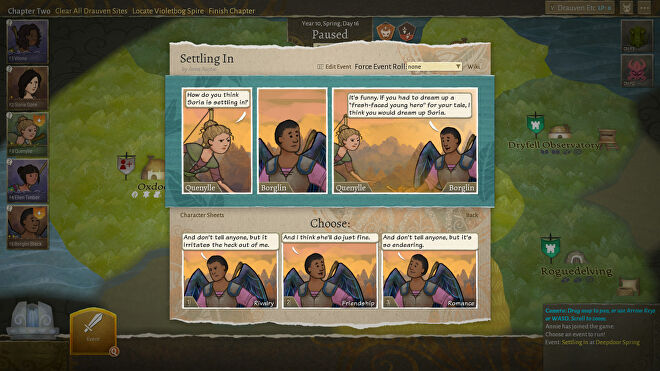 Deciding how one character feels about another in a Wildermyth screenshot.