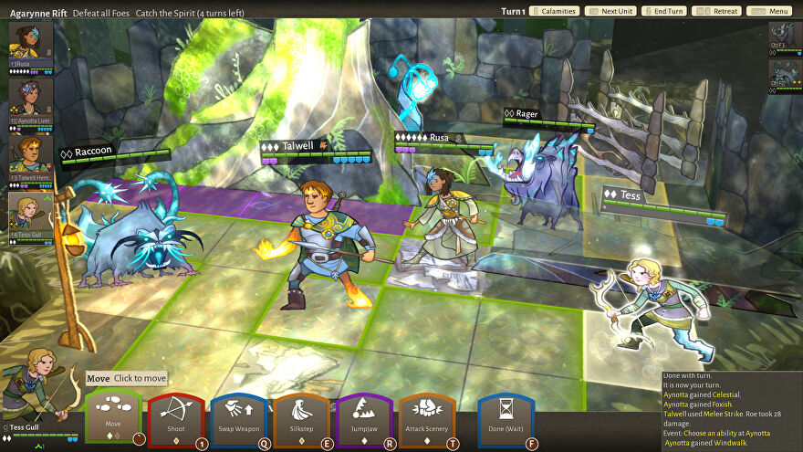 Wildermyth - Three party members on a grib battlefield prepare to fight a large raccoon.