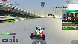 A screenshot of speedrunner 'Wirtual' playing Trackmania blindfolded on Twitch.