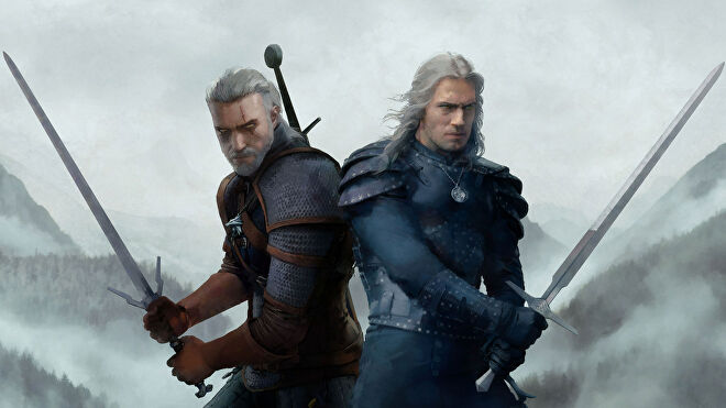 The video game and Netflix versions of Geralt back-to-back in art for WitcherCon.