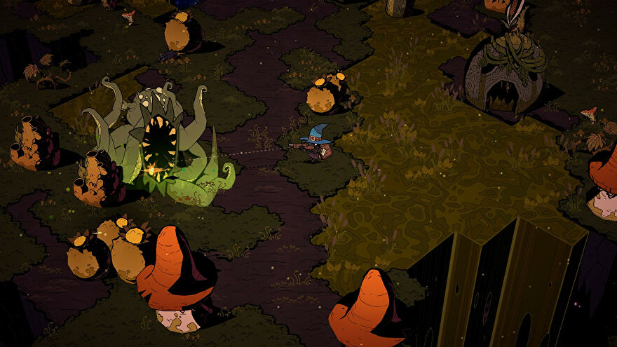 A screenshot of Wizard With A Gun showing a grimy grass biome in which a wizard hat-wearing figure with a gun is taking aim at a green tentacle monster.
