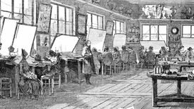 Illustration of the wood engraving workshop at the French newspaper L'Illustration during daylight hours showing the engravers at work next to the windows.