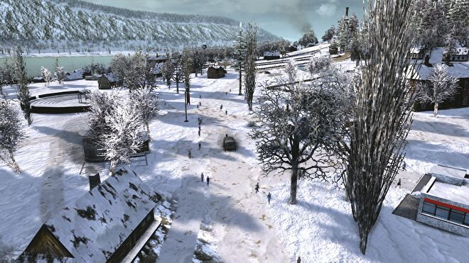 A snowy rural scene from Workers & Resources: Soviet Republic