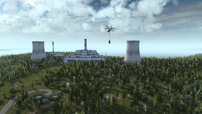 A helicopter flies over a nuclear power plant in a forest in Workers & Resources: Soviet Republic