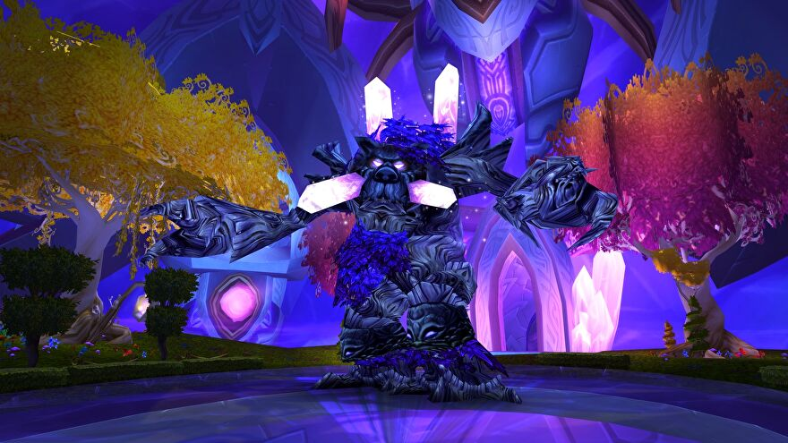 A screenshot from World Of Warcraft: Burning Crusade Classic showing the Botanica area, a purply tree guy called Warp Splinter in the middle of the image with arms outstretched.