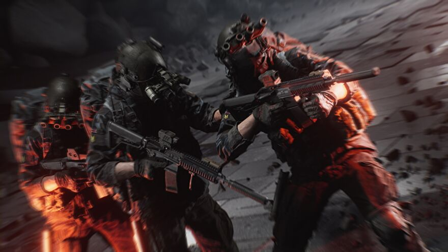 Three soldiers with tactical gear and guns stand next to one another against a dark grey environment