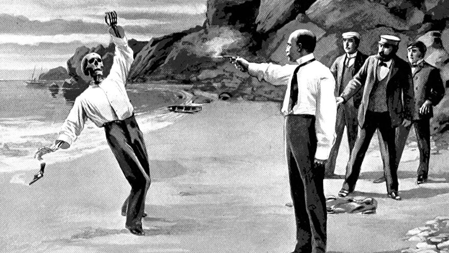 A startled crowd watches a duel on a beach, where one man has just shot another man who's actually a skeleton, in an illustration from 'The Destined Maid'.