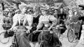 Women cycling in an illustration from 'The Municipal Parks Gardens, and Open Spaces of London: their history and associations'.