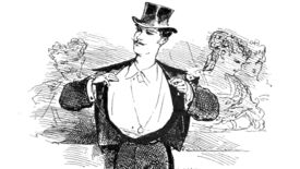 A fancy fella with a top hat opens his tuxedo in an illustration from 'Paris herself again in 1878-9'.