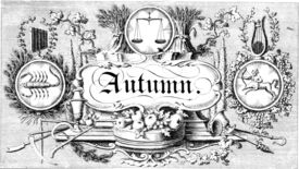 An autumnal banner in an illustration from 'The Progress of Time; or, an emblematical representation of the Four Seasons and Twelve Months, as marching in procession round their annual circle. In imitation of Spencer's Fairy Queen'.