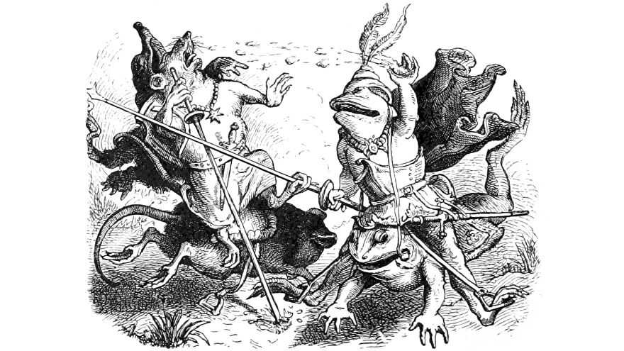 A frog riding a frog defeats a mouse riding a mouse at jousting in an illustration from 'Woodland Romances; or, Fables and Fancies'.