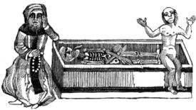 Lads hanging out with a skeleton in an illustration from 'The Lamentable Vision of the Devoted Hermit (written of a sadly deceived soul and its body)'.