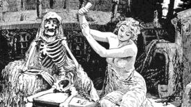 Just a gal and her skeleton pal in an illustration from 'The Blue Poetry Book. Edited by Andrew Lang. With numerous illustrations by H. J. Ford and Lancelot Speed. L.P'.