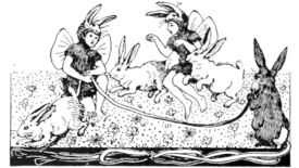 Faeries dressed as rabbits skip over a rope with rabbits in an illustration from 'Songs for Little People [With illustrations by H. Stratton.]'.