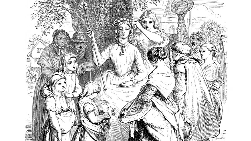 Crowning the May Queen in an illustration from 'Poems'.
