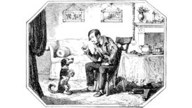 A man teaches a dog to beg in an illustration from 'The Ingoldsby Legends ... Second edition'.