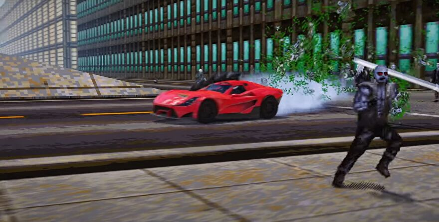 A screenshot of Wreckfest's Carmageddon update, showing pixelated zombies being burst into green puddles by an iconic red car.