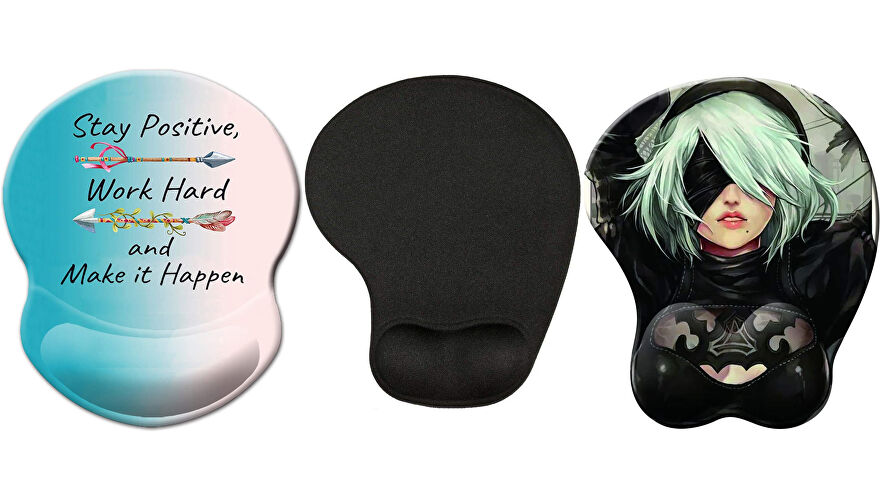An assortment of mouse pads with gel wrist rests, including one with a picture of 2B from Nier Automata.