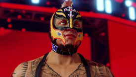 Rey Mysterio in a frame from the WWE 2K22 announcement trailer.