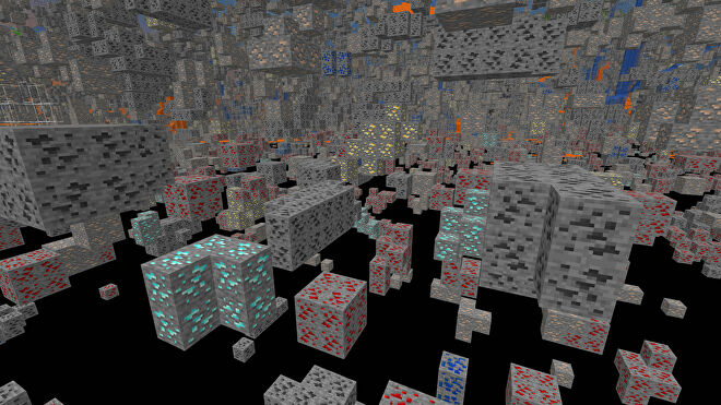 A Minecraft screenshot of a landscape displayed using the Xray Ultimate Texture Pack.
