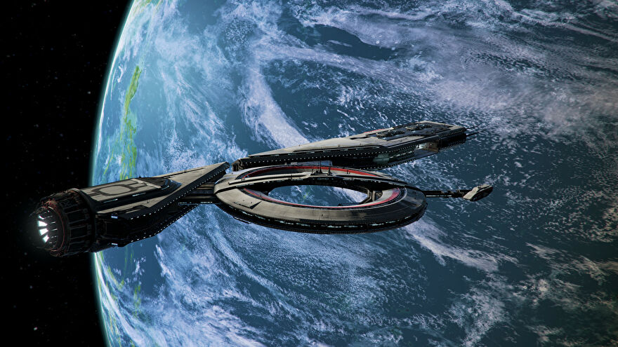 A screenshot of the X4: Crade Of Humanity expansion for X4: Foundations, showing a long spaceship with an attached ring in the foreground and the planet earth in the middle distance.
