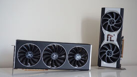 XFX's Radeon RX 6700 XT Speedster Merc 319 Black Edition graphics card next to AMD's Radeon RX 6700 XT graphics card