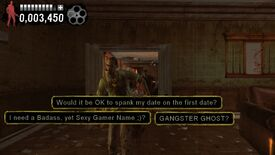 A screenshot of Typing Of The Dead showing zombies shambling towards the camera, upon which is the text of funny questions from Yahoo Answers.