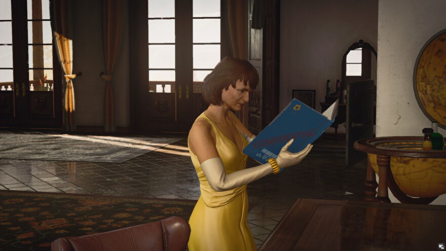 Don Yates' wife looks at an incriminating file in shock in Hitman 3's Domestic Disturbance challenge.
