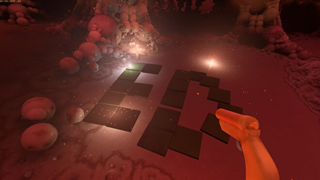 A screenshot of Yedoma Globula, a first-person spelunking game about exploring an infinite fractal world made of smooth globes